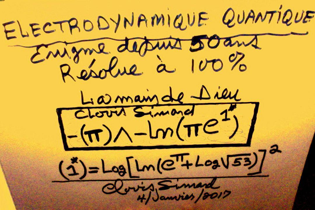 CALCUL À 100% DE LA CONSTANTE DE COUPLAGE EN ÉLECTRODYNAMIQUE QUANTIQUE(LA MAIN DE DIEU), C'EST MATHÉMATIQUES(fermaton.overblog.com)