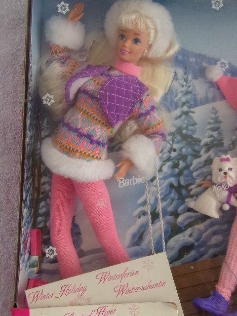 Rare Coffret Barbie ski Sports d'hiver Winter Holiday NEUF 4 poupées + luge NRFB