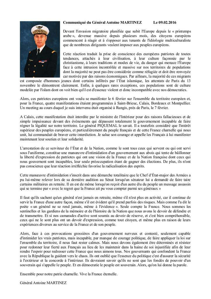 COURRIER DE SOUTIENT AU GENERAL PIQUEMAL.