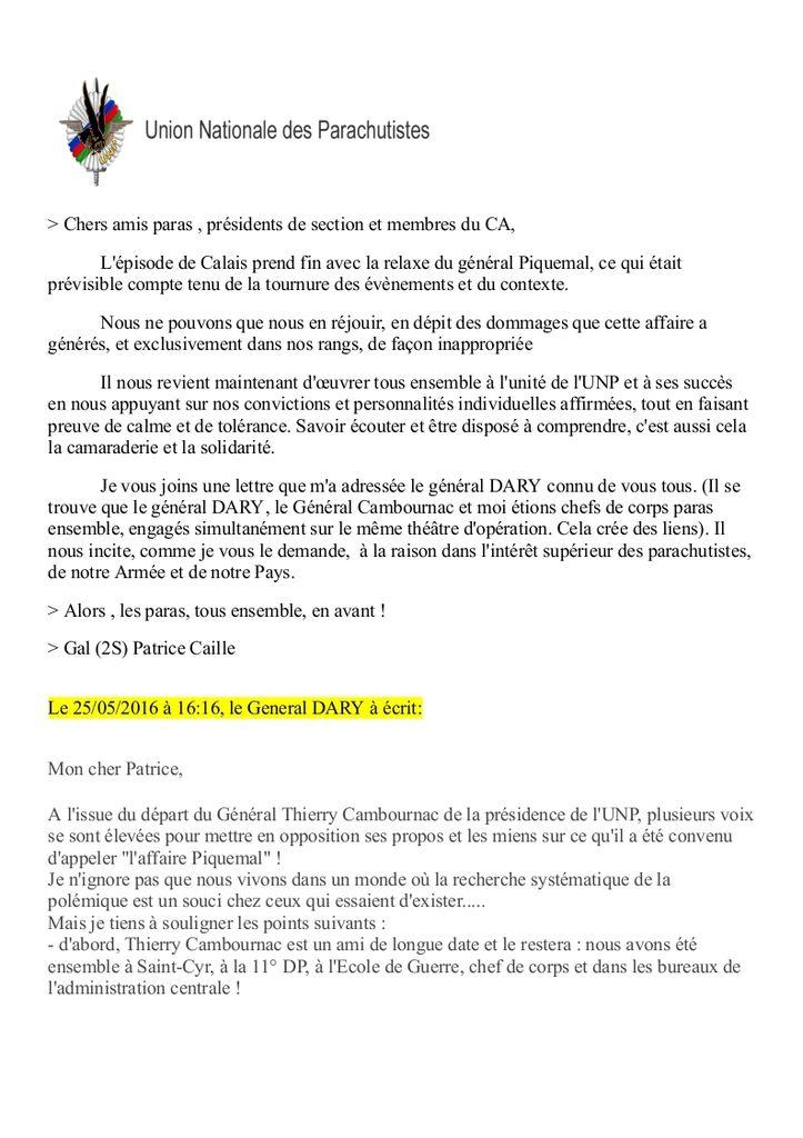 Message du Général CAILLE, aux membres de l'UNP