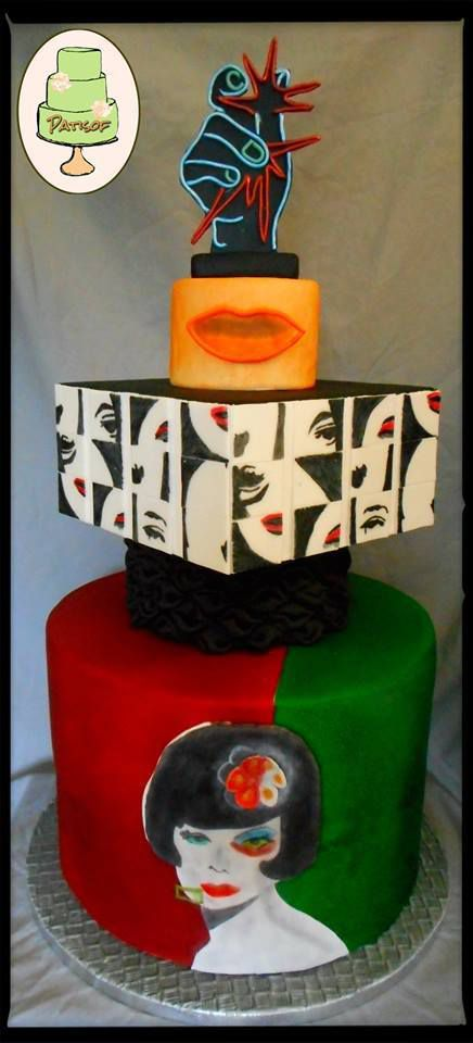 """Tower cake """"French pop art"""" cocktail Martial Raysse"""
