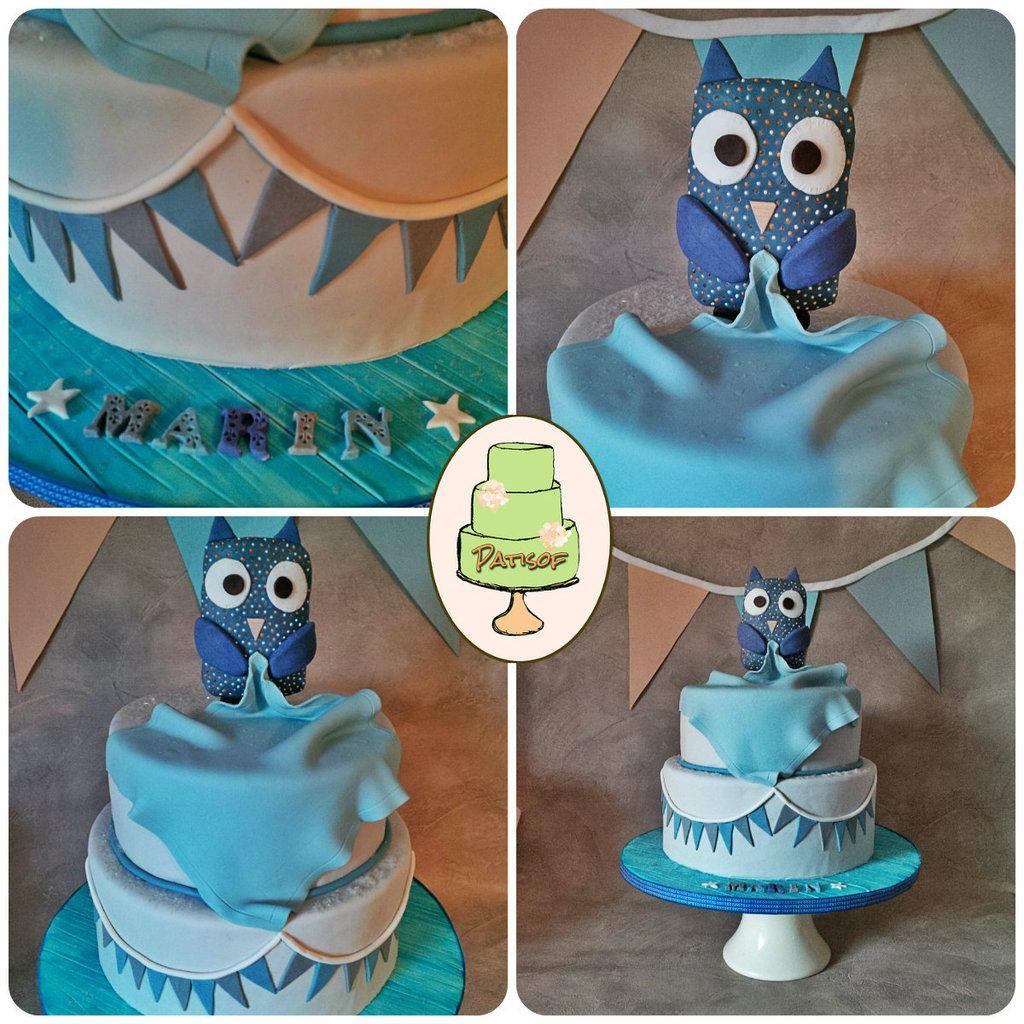 Gâteau très chouette pour le baptême de Marin ! Avec son doudou reproduit au mieux ! (Patisof batism owl cake)
