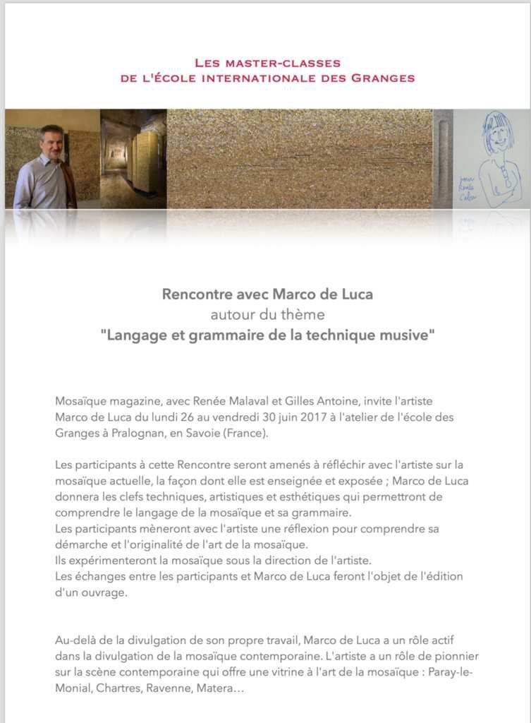 Juin 2017 : Rencontre avec Marco de Luca