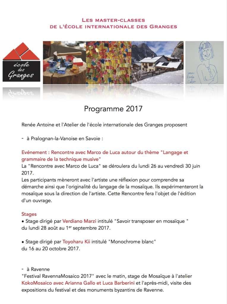 Programme 2017 : stages de Mosaïque à Pralognan