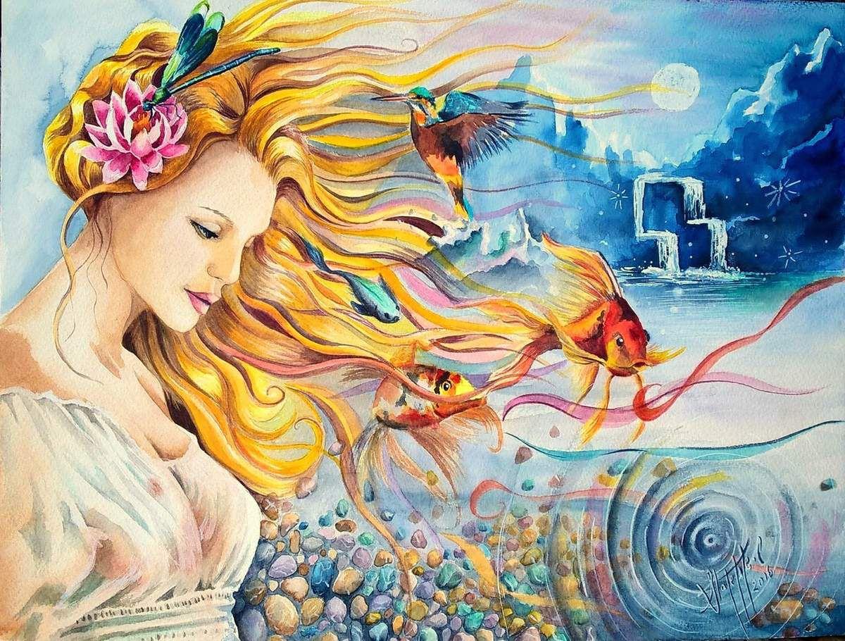 La Nymphe des eaux - 30x40cm - Aquarelle