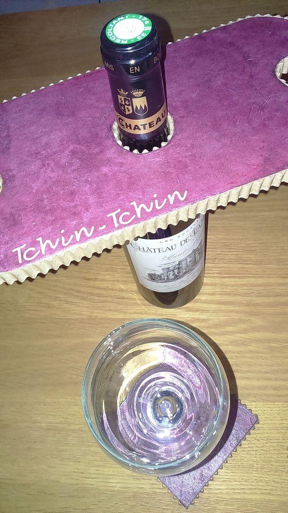 Porte verres pour bouteille de vin et dessous de verre...
