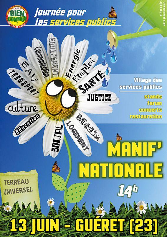Samedi 13 juin 2015, toutes et tous à Guéret ! Manifestation nationale pour les services publics