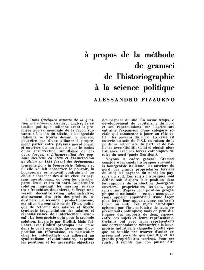 À propos de la méthode de Gramsci, de l'historiographie à la science politique, Alessandro Pizzorno