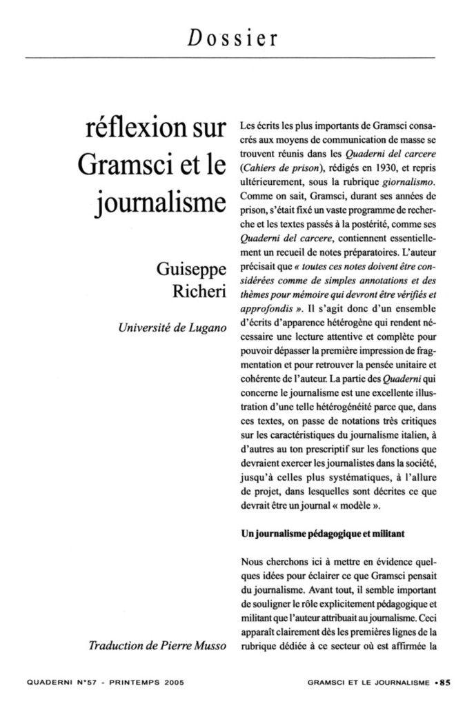 Réflexion sur Gramsci et le journalisme, Giuseppe Richeri