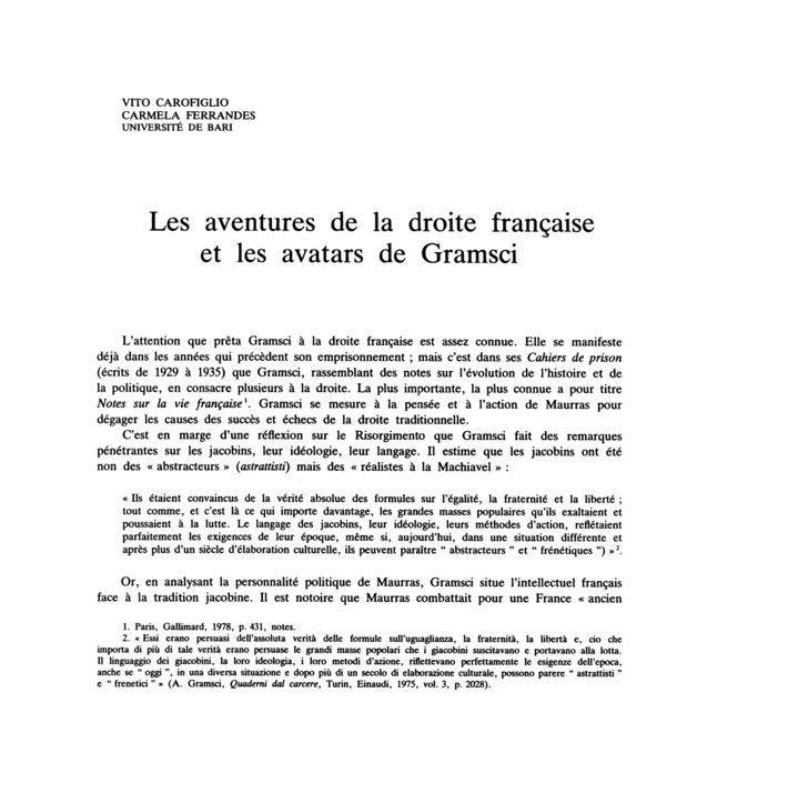 Les aventures de la droite française et les avatars de Gramsci, Vito Carofiglio Carmela Ferrandes