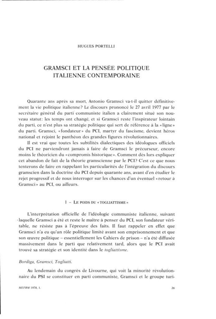 Gramsci et la pensée politique italienne contemporaine, Hugues Portelli
