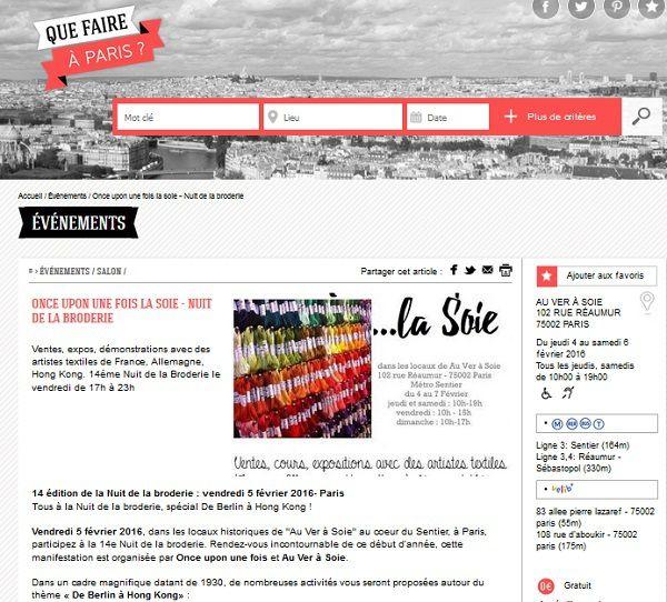 Once upon une fois la soie et Nuit de la Broderie sur Que Faire à Paris