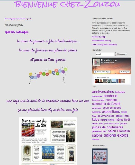 14eme Nuit de la Broderie sur le blog de Zouzou