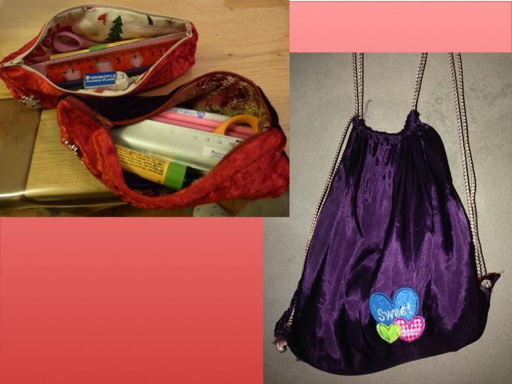 Des trousses pour la maison (avec le flocon du ski dessus) et un sac à basket taille maternelle. Tissus au choix des filles!