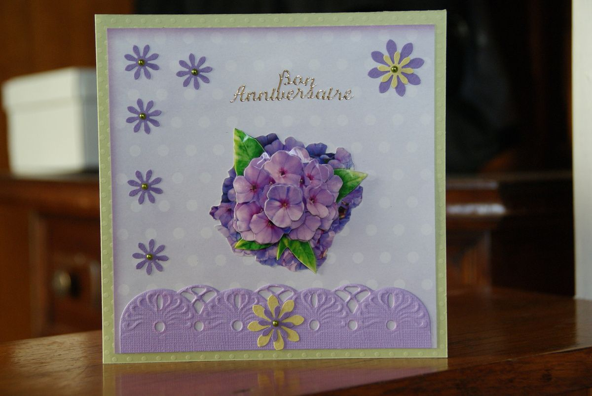 Carte Hortensia Anniversaire