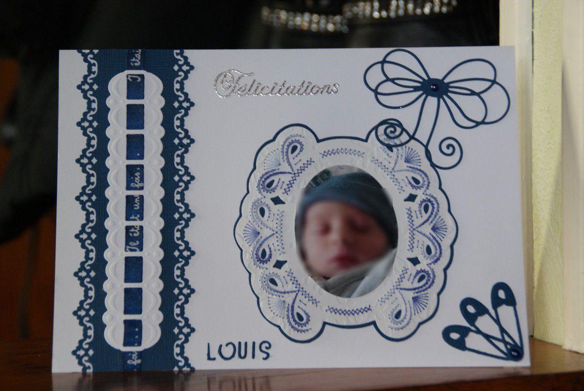 Carte brodée Louis
