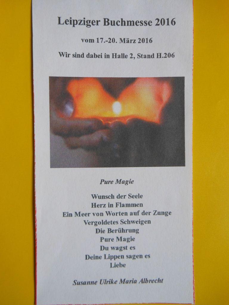 Gedicht des Monats März 2016 von Susanne Ulrike Maria Albrecht in dem net-Verlag Maria Weise