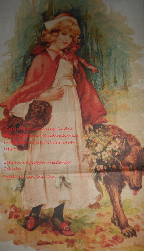 Rotkäppchen Weihnachtskarte aus dem Jahre 1902   Zitat von Johann Christoph Friederich Schiller