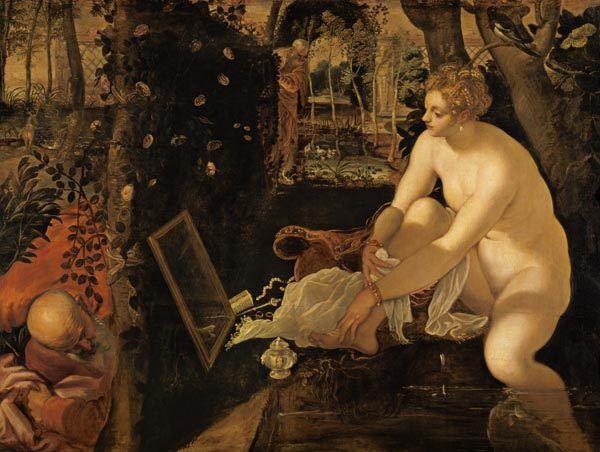 Susanna im Bade (1555/56) von Tintoretto - Jacopo Tintoretto (Jacopo Robusti, genannt Jacopo Tintoretto)