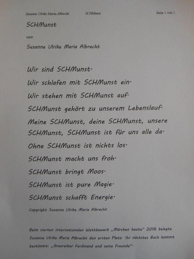 Alle Rechte bei Textschöpferin Susanne Ulrike Maria Albrecht