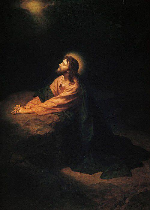 Jesus Christus im Garten Gethsemani  -  Gemälde von Heinrich Hofmann