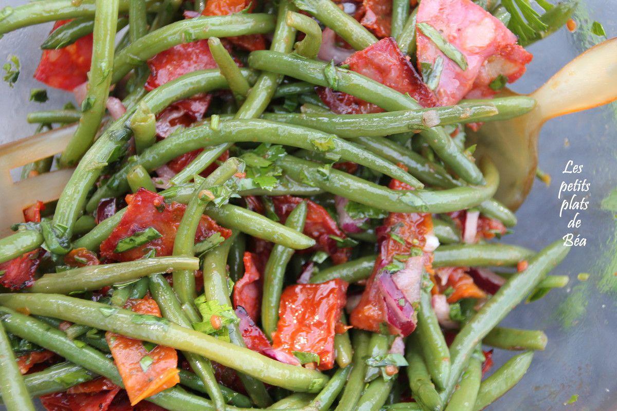 Salade de haricots verts aux tomates confites et au chorizo