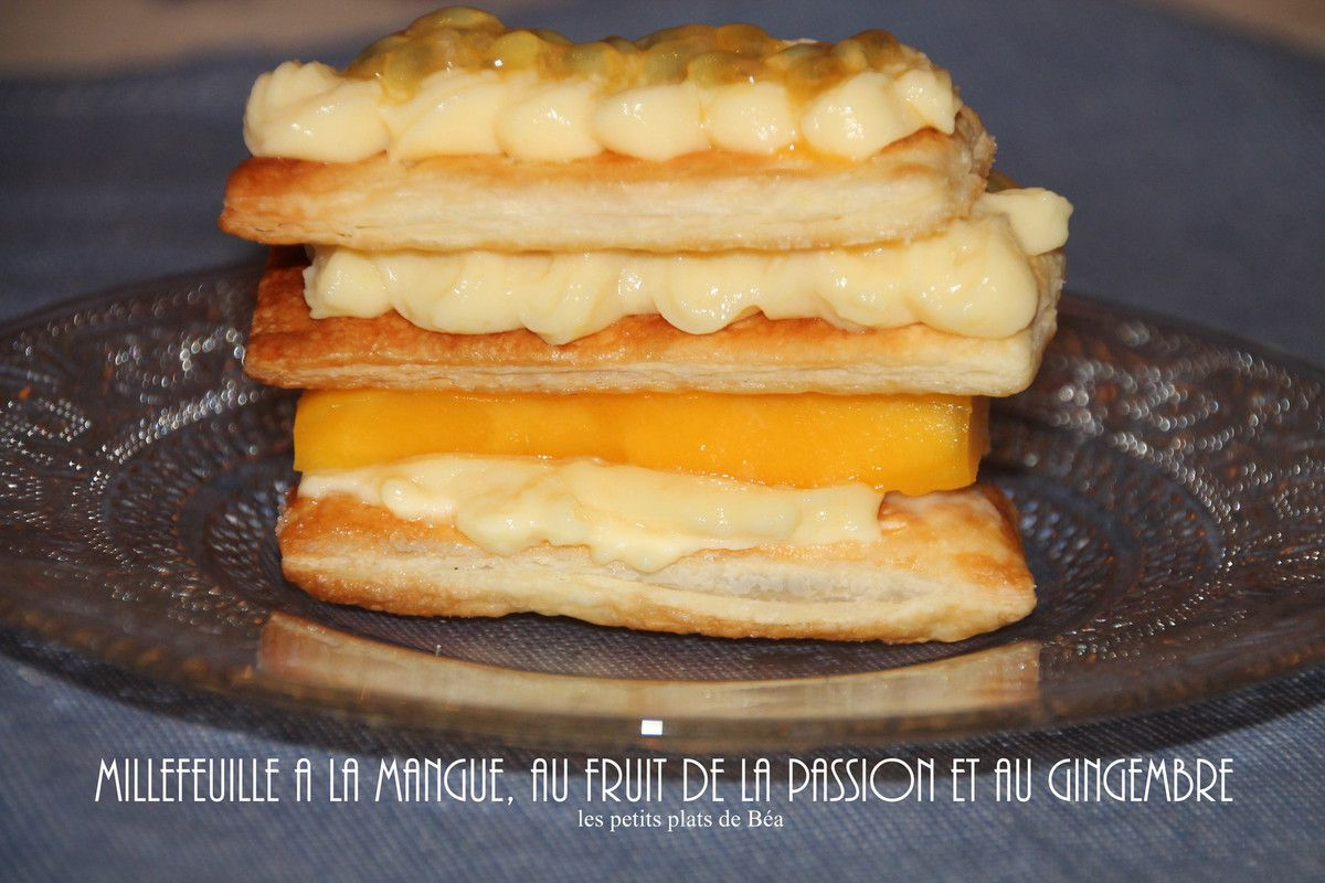 Millefeuille à la mangue, fruit de la passion et gingembre