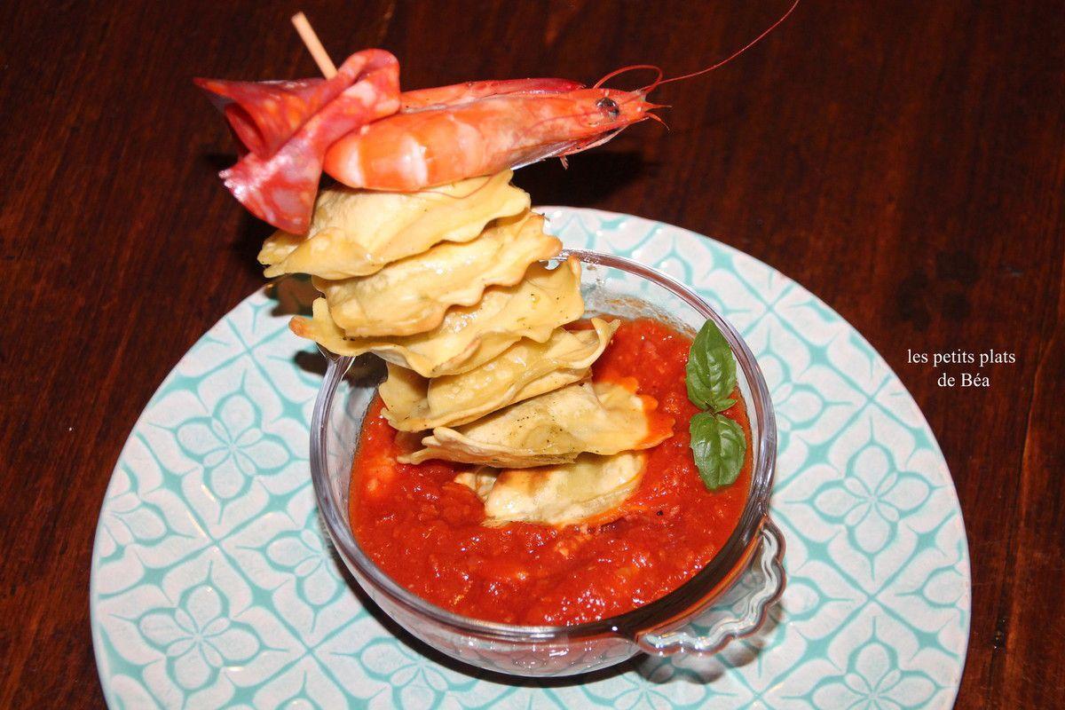 Crevettes mijotées au chorizo et brochettes de ravioli poêlés - Rome (2)
