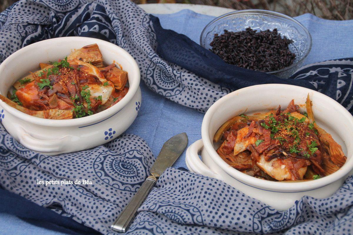 Cabillaud, chorizo et artichauts poivrades