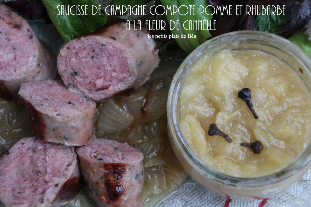 Saucisse De Campagne Et Compote De Pommes Et De Rhubarbe A La Fleur
