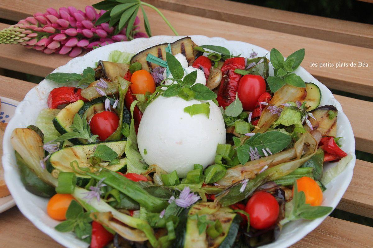 Salade de légumes grillés à la plancha et burrata