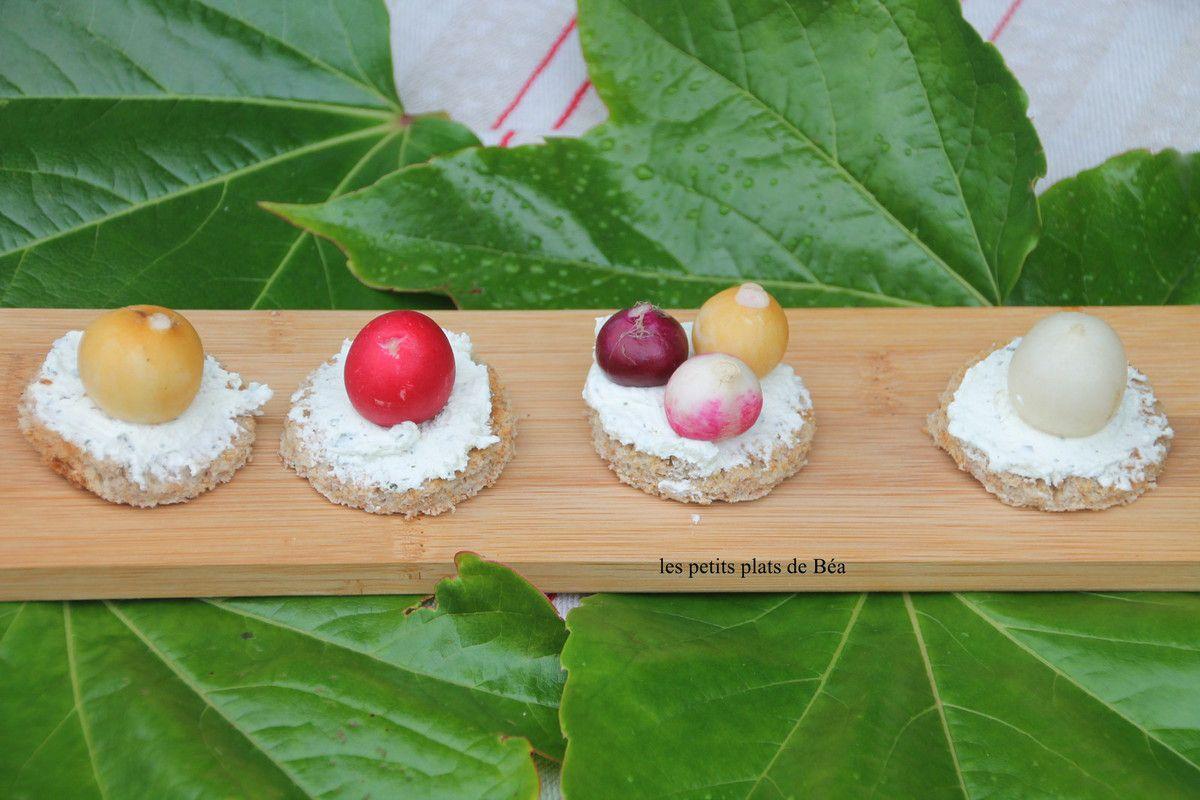 Moelleux au gaspacho de poivron et tartine de boursin et radis