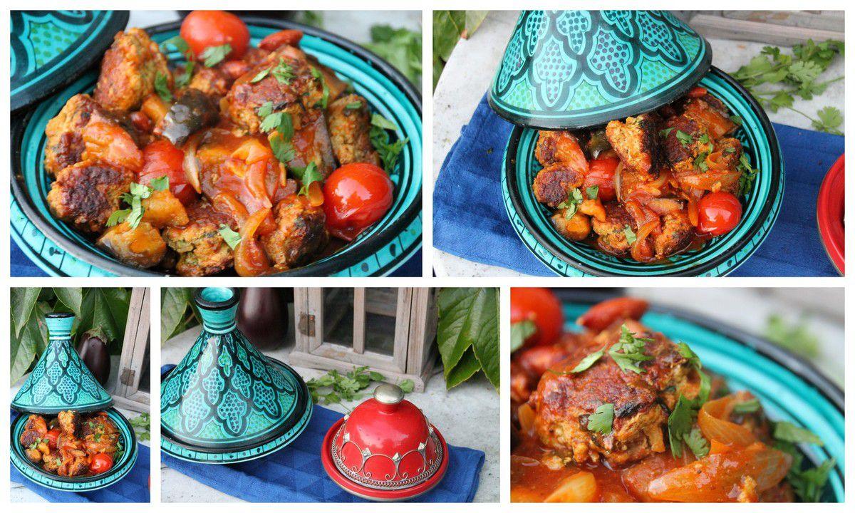 Tajine de boulettes de veau à l'aubergine et aux tomates cerises