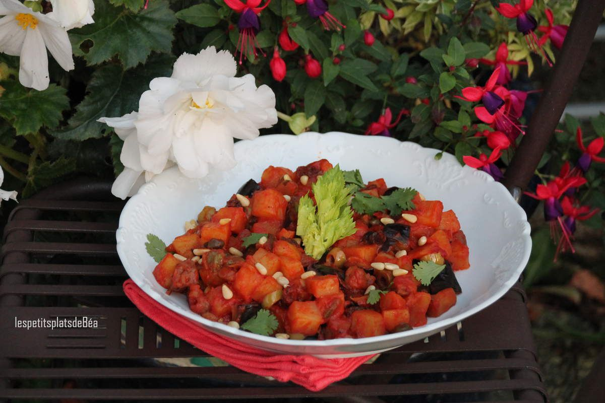 Salade de pommes de terre et d'aubergine façon caponata