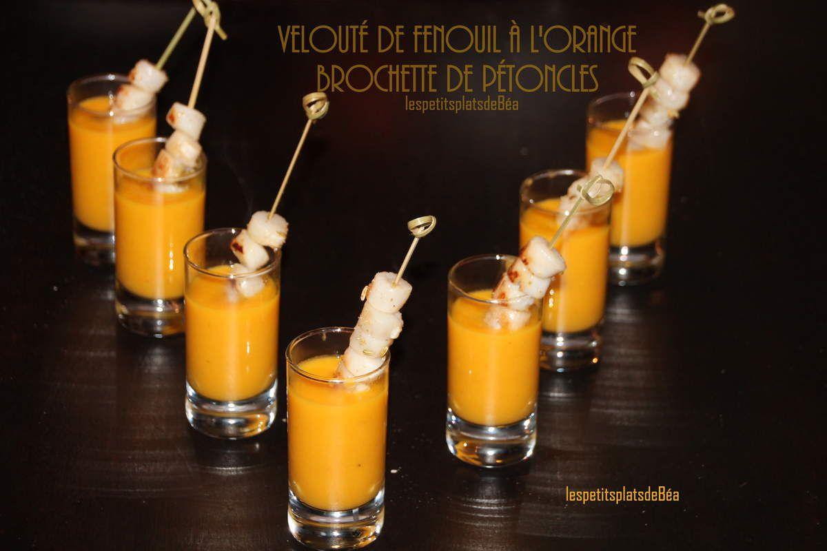 Velouté de fenouil à l'orange, brochette de pétoncles