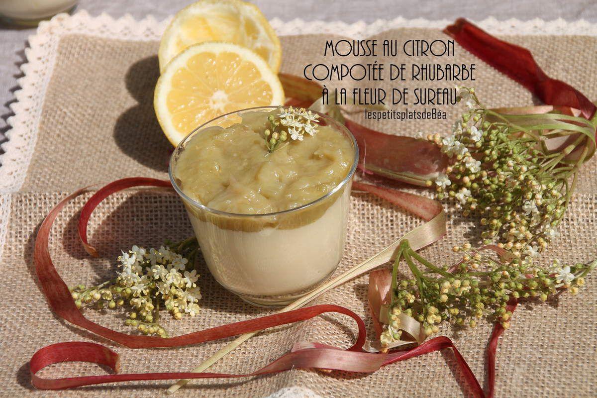 Mousse au citron et compotée de rhubarbe aux fleurs de sureau