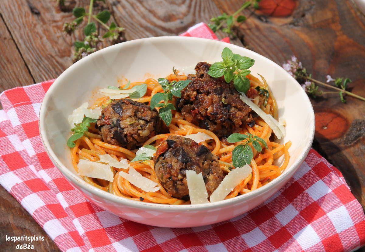 croquettes d 39 aubergines aux tomates s ch es spaghettis la sauce basquaise les petits plats. Black Bedroom Furniture Sets. Home Design Ideas