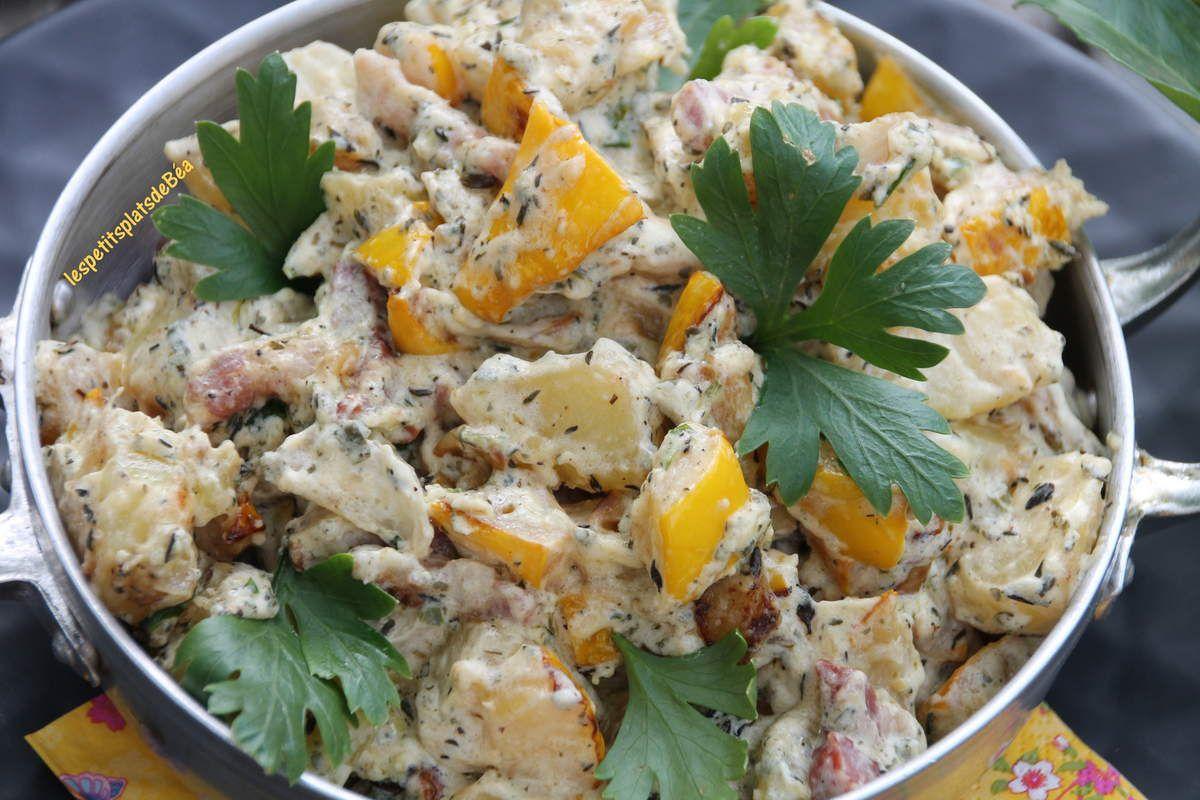 Pâtisson et pommes de terre sautés sauce au boursin