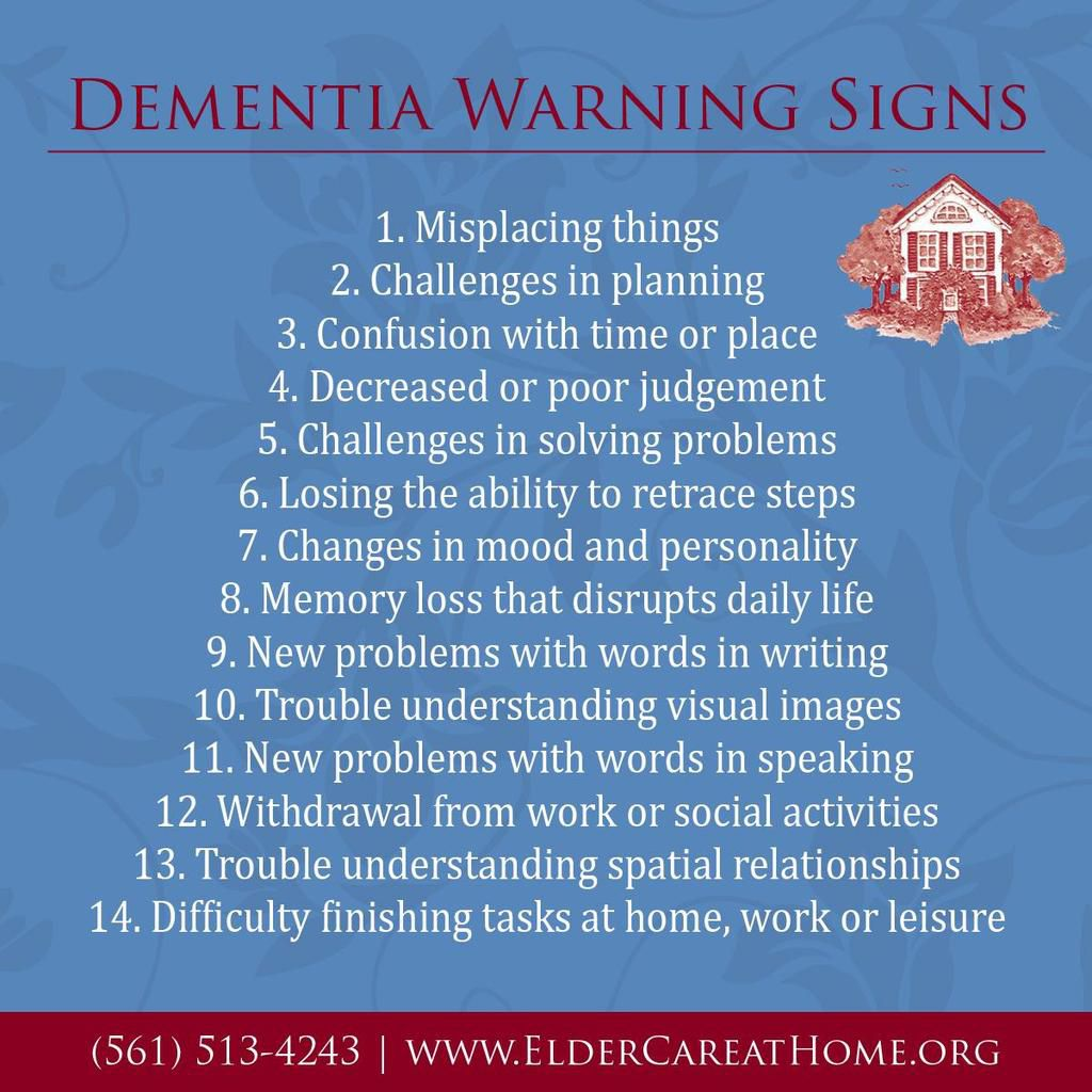 Here are warning signs for a person facing dementia & possibly Alzheimer's disease. http://ow.ly/WoyCZ
