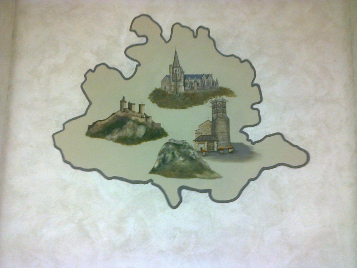 "Mur avec  ""carte Ariège"""