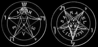 """Le pendacle de l'Homme (magie blanche) V/S le pentacle dit de """"la bête"""" (magie noire)"""