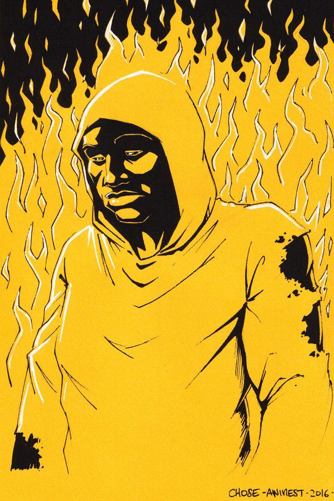 J'ai commencé par une idée qui me trottait dans la tête, un portrait de Luke Cage, en n&b sur jaune pour rester dans le thème de la série. Je voulais le poser, impassible au milieu des flammes, mais je n'suis pas entièrement convaincu :)