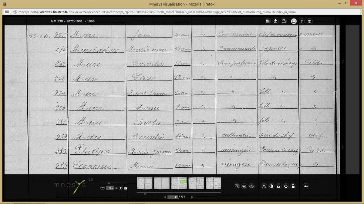 Les MARC en 1896 (recensement)