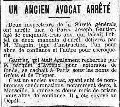 """in Le Matin du 24 avril 1913 (Tiens, """"deux inspecteurs de la Sûreté Générale..."""")"""