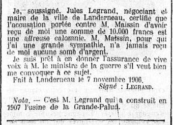 C'est M. Legrand qui a construit en 1907 l'usine de la Grande-Palud. in Ouest-Eclair du 11/11/1911.