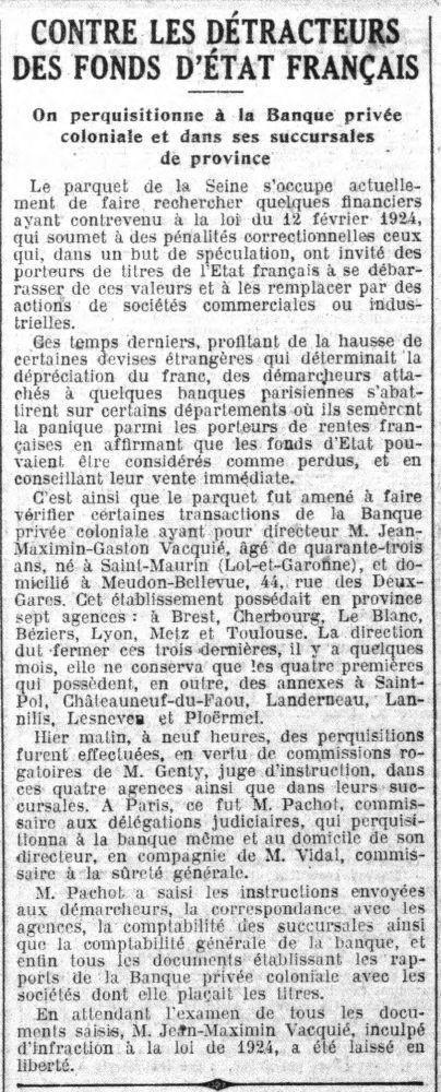 Vidal enquête sur Vacquié in Le Petit Parisien du 27 avril 1924.