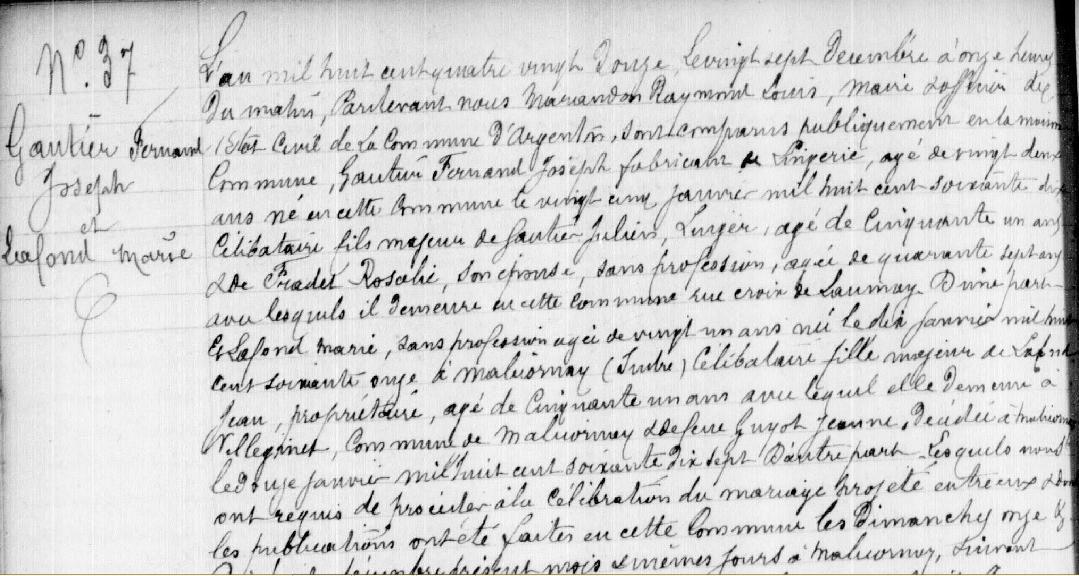 Fernand Gautier. Acte de Mariage le 27 décembre 1892.
