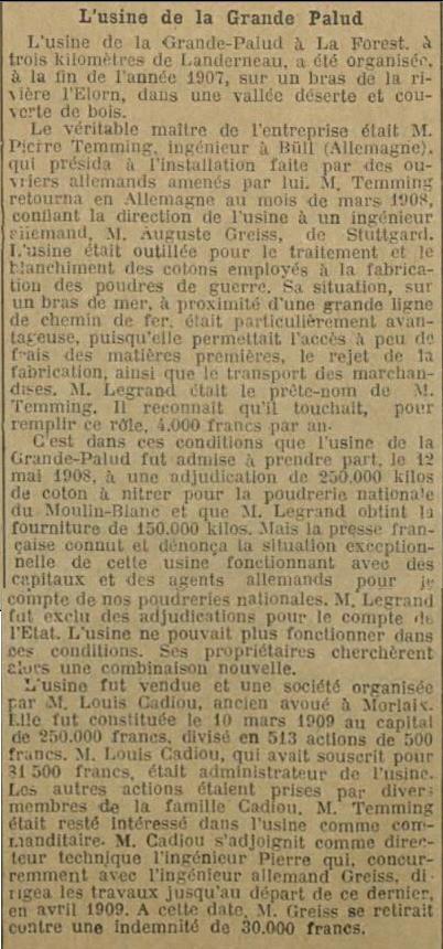 Petite révision : Legrand et la Grande Palud. In La Dépêche de Brest du 28 octobre 1919.