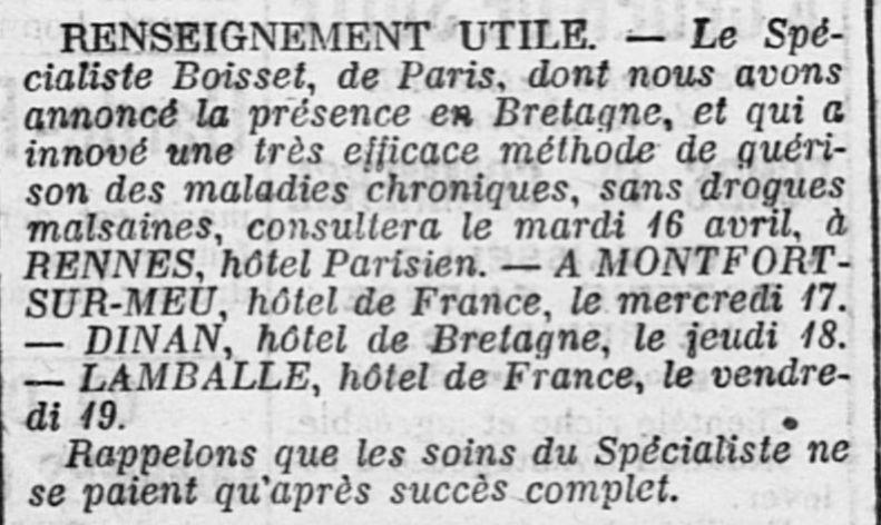 Un charlatan pousse l'autre...(in Ouest-Eclair du 15/4/1907)