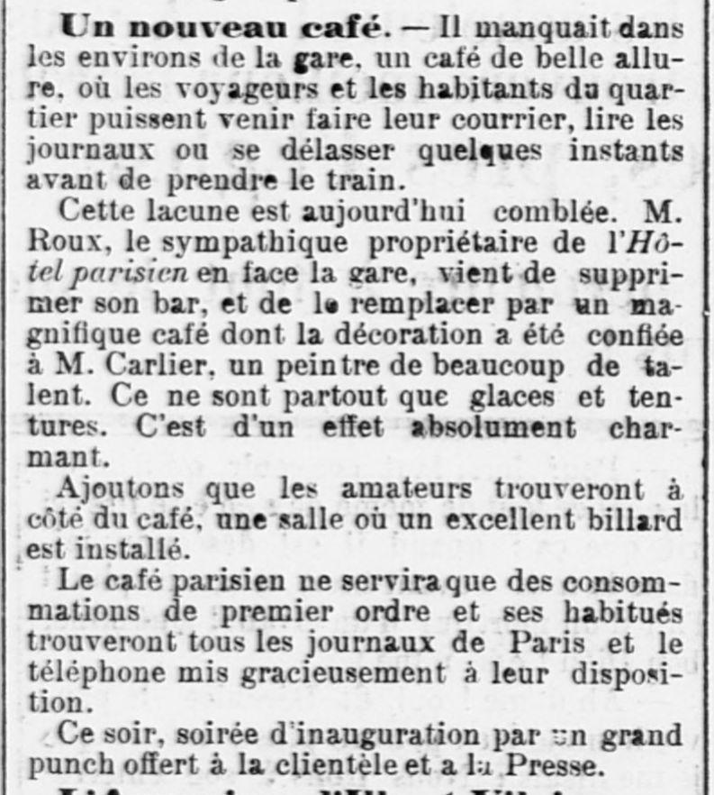 Inauguration in Ouest-Eclair du 18/1/1902.